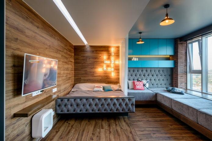 zonage de la pièce avec un plafond à plusieurs niveaux