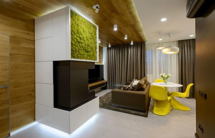 zonage de la pièce avec des matériaux de finition