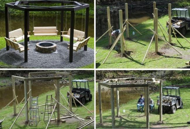 Construction d'un gazebo simple avec une balançoire, spacieux (pour 5-10 personnes) et original, et en même temps avec un minimum de matériaux de construction
