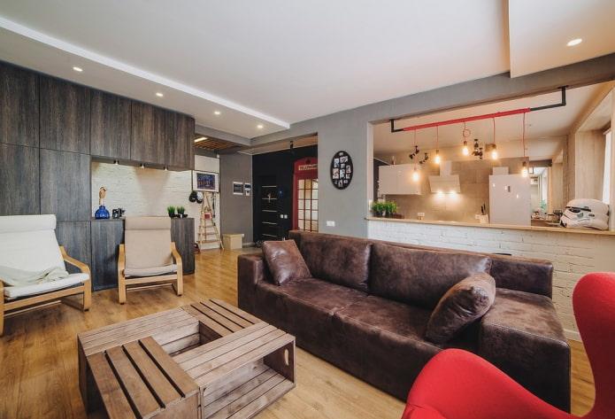décoration de studio de style loft