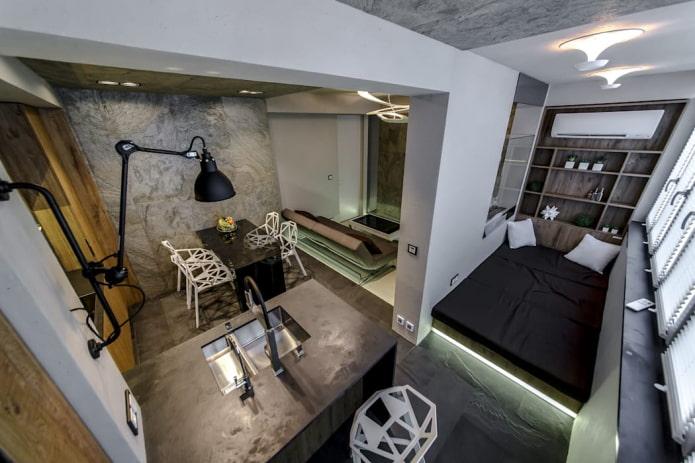 conception d'un petit studio dans un style industriel