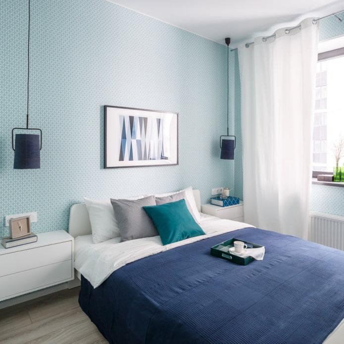 papier peint bleu dans la chambre