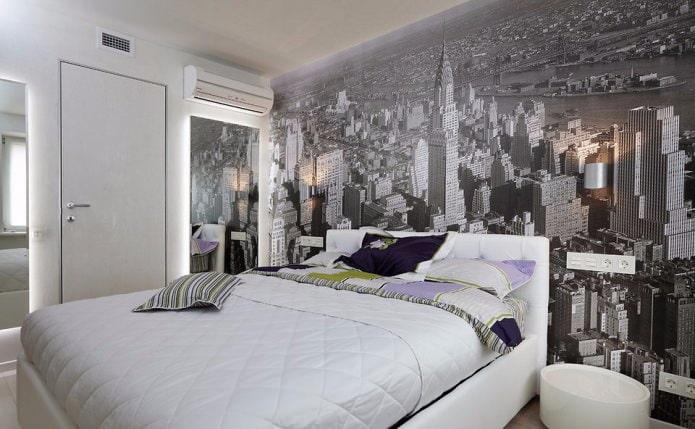 murs rayés blancs et gris