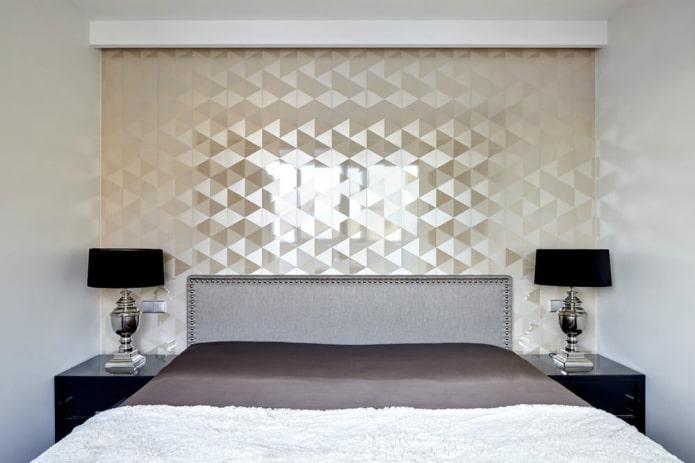 papier peint à paillettes texturé dans une petite chambre