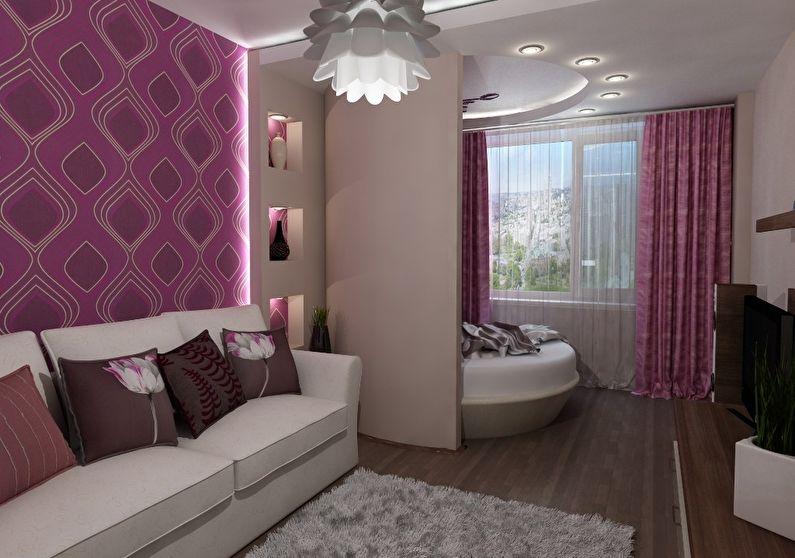 Design d'intérieur de chambre à coucher à Khrouchtchev - Zonage