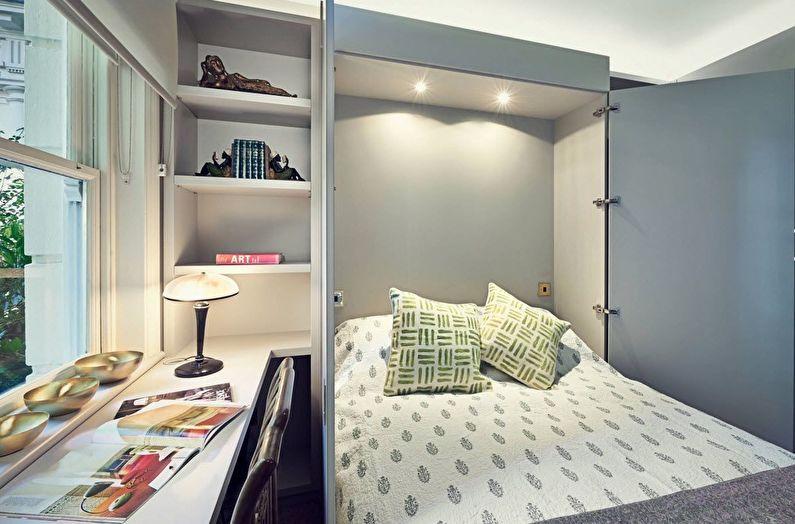 Design d'intérieur de chambre à coucher à Khrouchtchev - Lit pliant