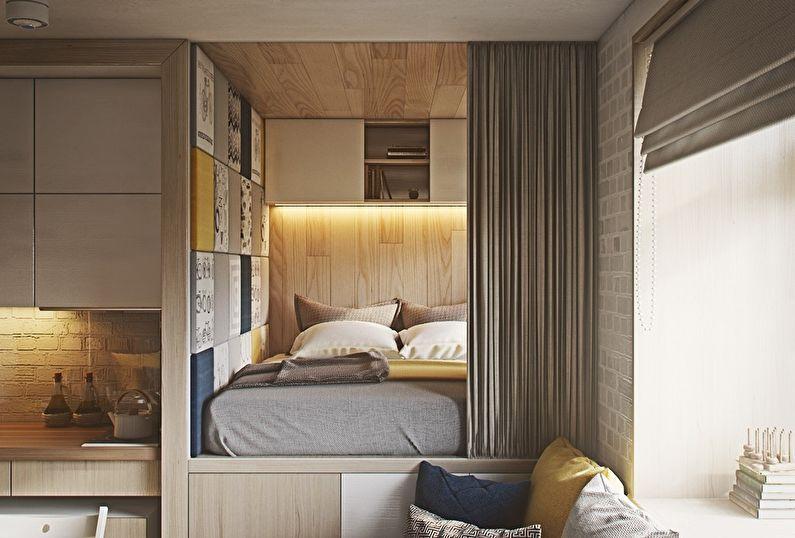 Design d'intérieur de chambre à coucher à Khrouchtchev - Podium