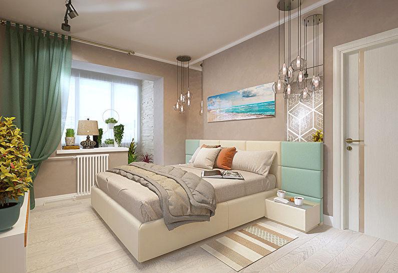 Design d'intérieur d'une chambre à Khrouchtchev - Combinaison avec un balcon
