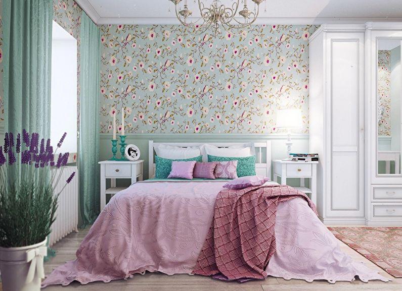 Design de chambre à coucher à Khrouchtchev - style provençal