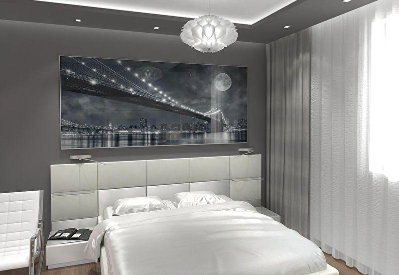 Chambre grise à Khrouchtchev - design d'intérieur