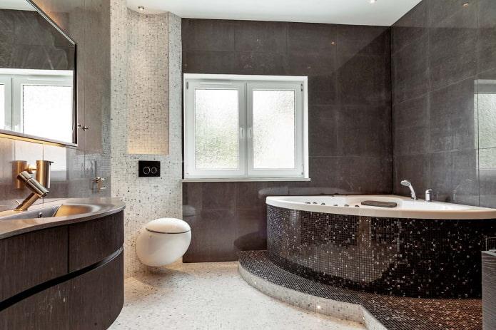 baignoire en mosaïque à double angle