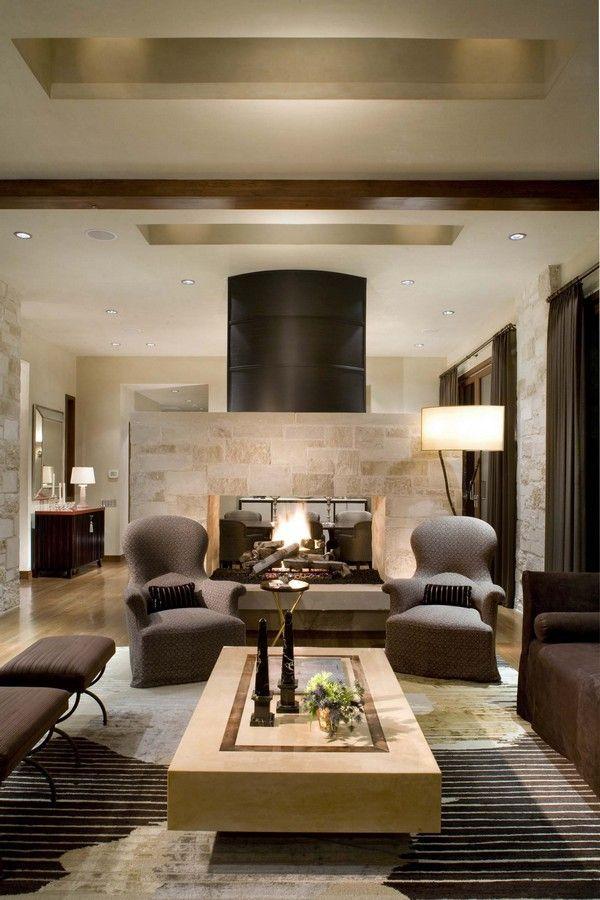 Le tandem beige et marron est également parfait pour le salon.