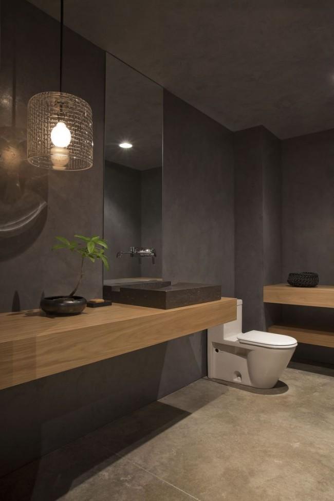 Salle de bain laconique mais non moins chic dans les tons bruns