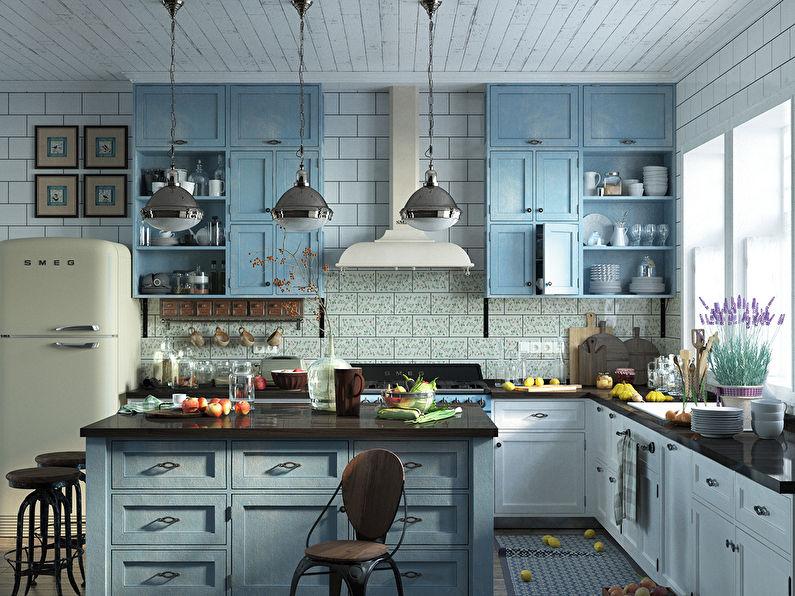 Conception de cuisine bleu et blanc de style provençal