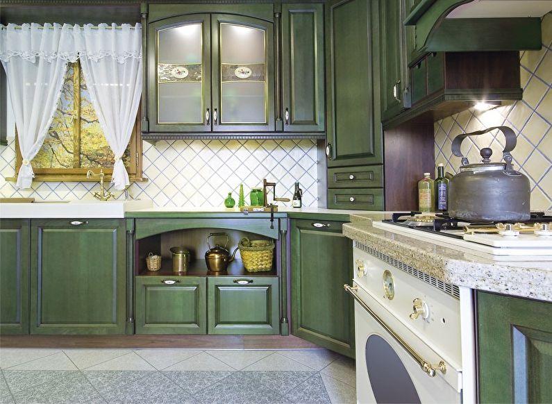 Conception de cuisine verte de style provençal