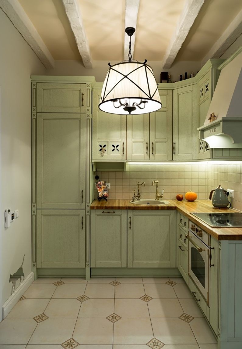 Éclairage - Conception de cuisine de style provençal