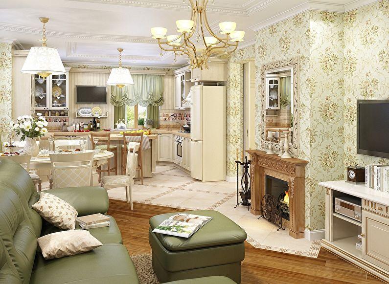 Conception de cuisine-salon de style provençal