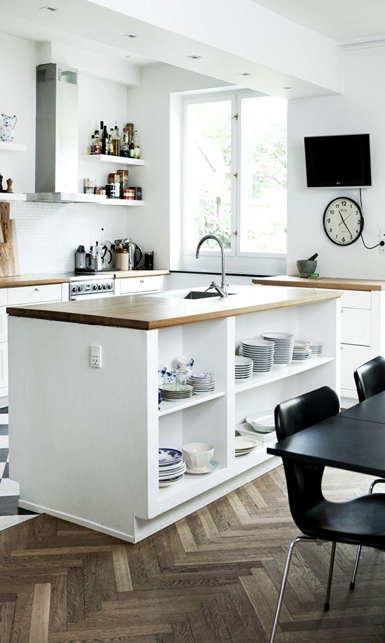 Plancher de cuisine de style scandinave design - parquet à chevrons