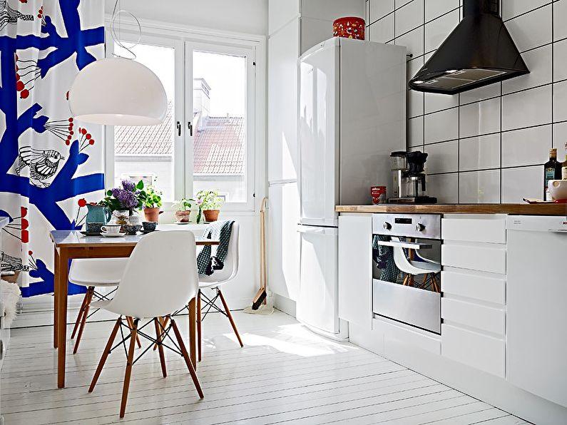 Design d'intérieur de cuisine de style scandinave - Rideaux de fenêtre