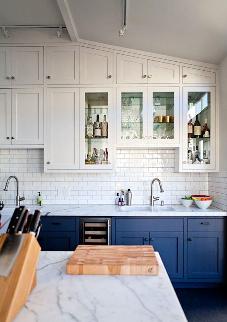 Cuisine bleue scandinave - design d'intérieur