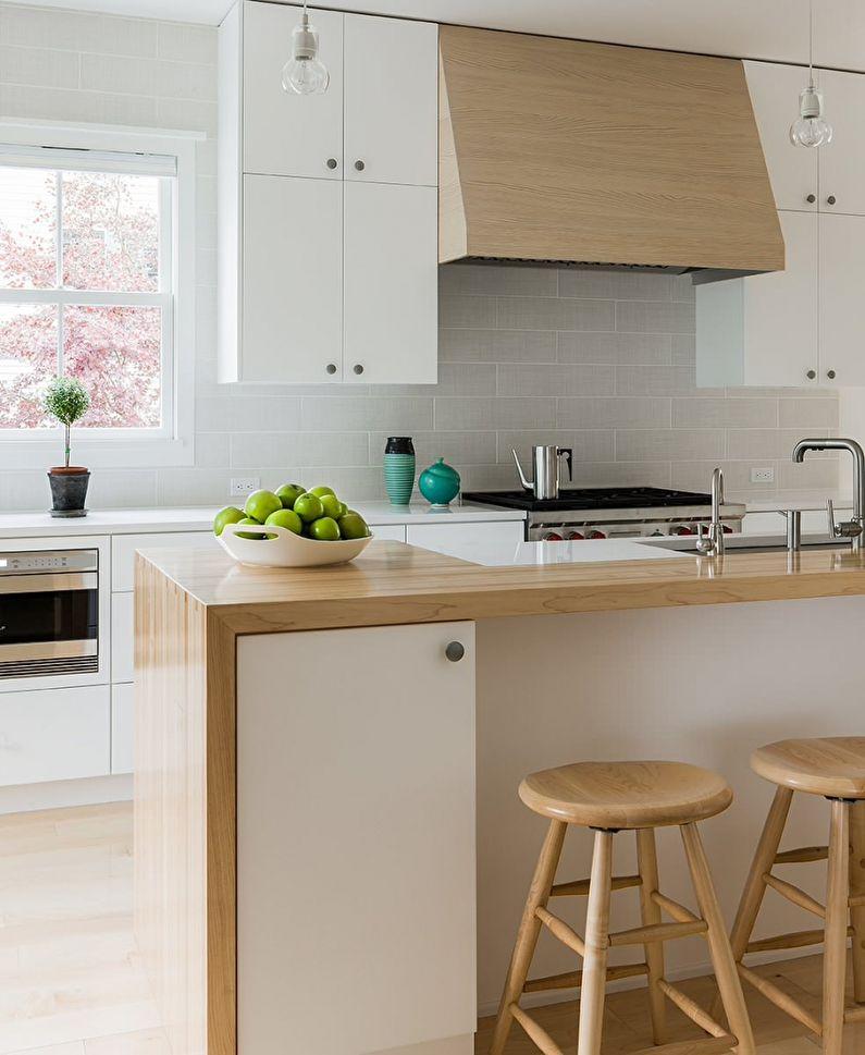 Conception de cuisine de style scandinave - couleur bois blanchi