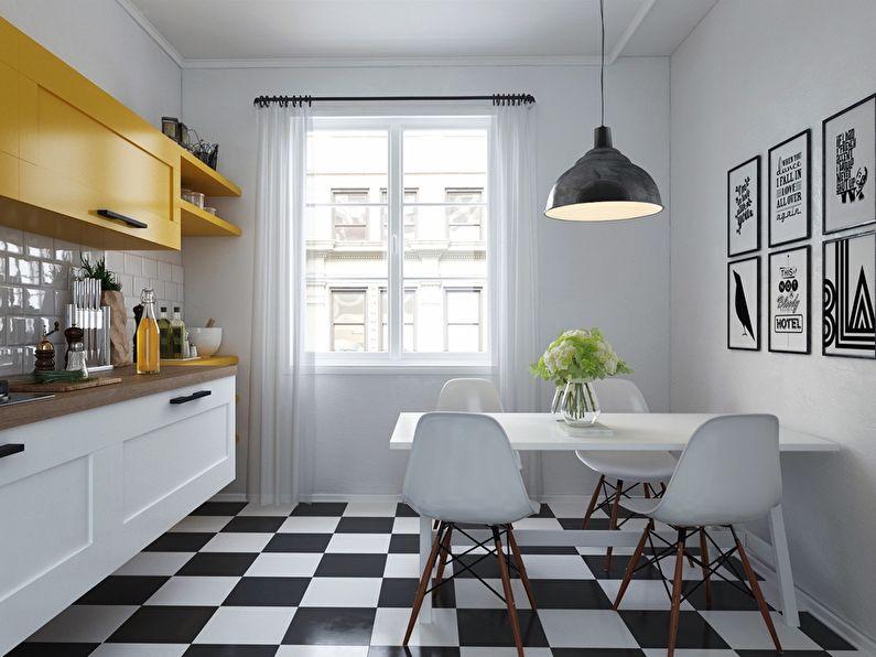 Design de sol de cuisine de style scandinave - carrelage noir et blanc