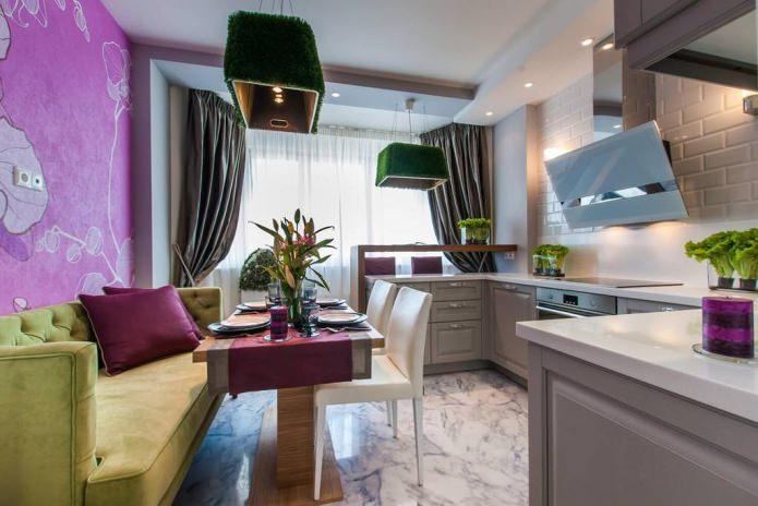 Cuisine-salle à manger avec bar