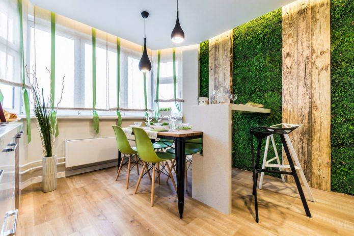 Cuisine-salle à manger éco-style avec comptoir de bar