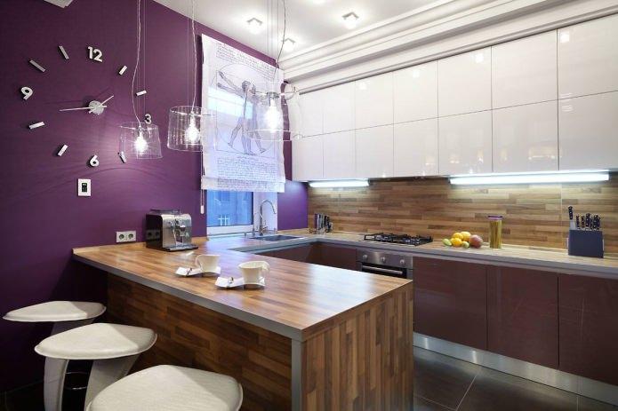 Comptoir de bar dans la cuisine en U