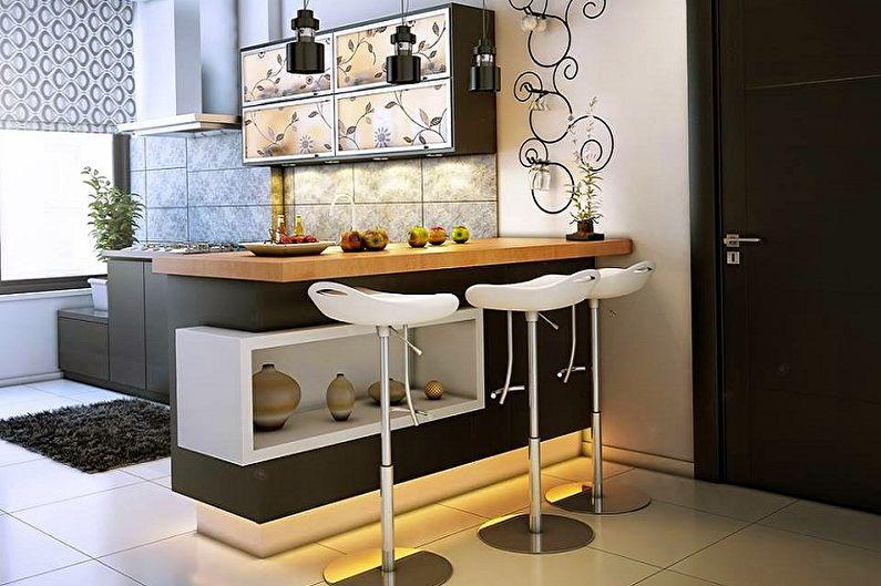 Cuisines avec un comptoir de bar - Un comptoir avec une margelle