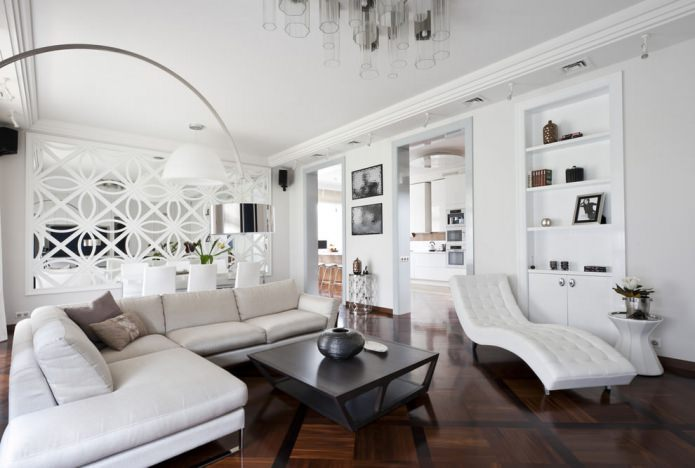 salon moderne en blanc