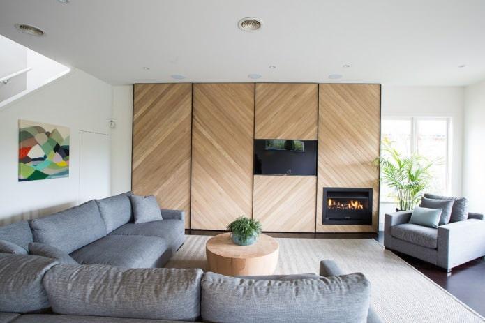 mur de nuances de bois naturel