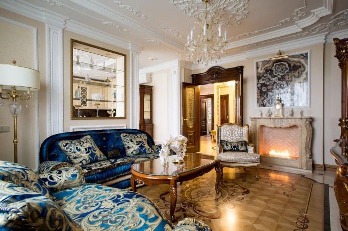 meubles rembourrés classiques en velours