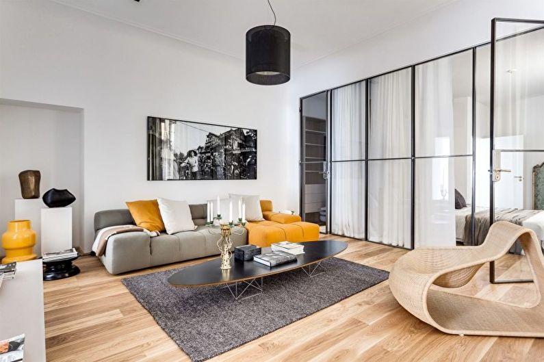 Salon blanc dans le style du minimalisme - Design d'intérieur