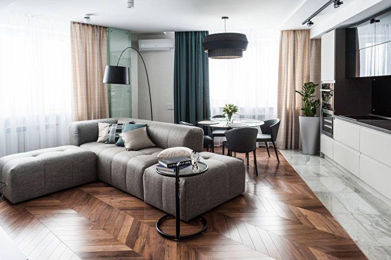Conception de salon dans le style du minimalisme - Caractéristiques