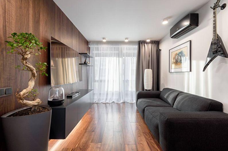 Salon marron dans le style du minimalisme - Design d'intérieur