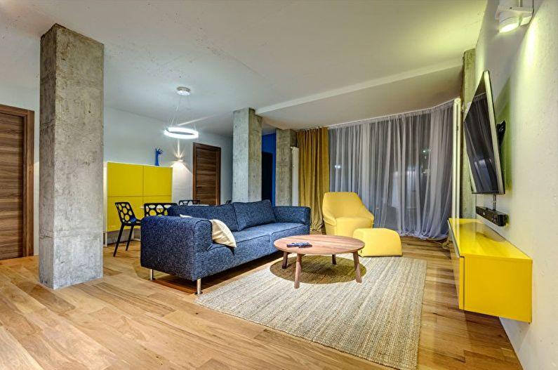 Salon jaune dans le style du minimalisme - Design d'intérieur