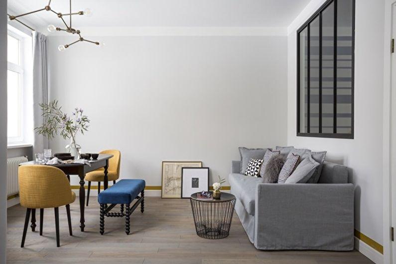 Conception de salon dans le style du minimalisme - Finition du sol