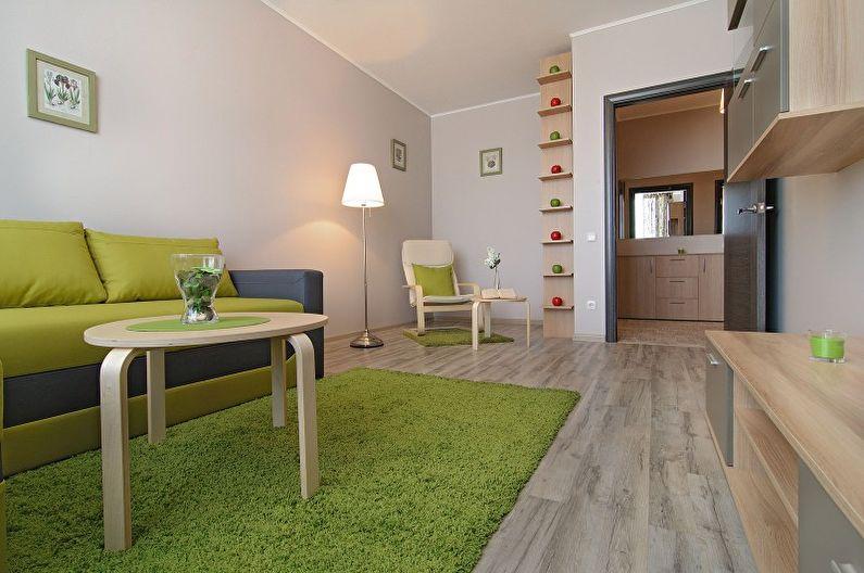 Salon vert dans le style du minimalisme - Design d'intérieur