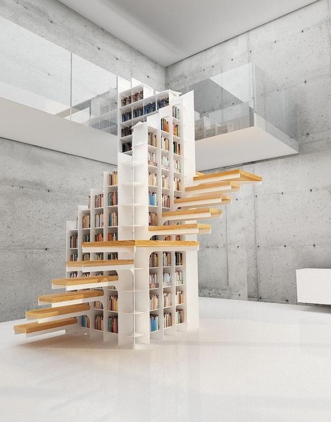 À l'intérieur des cages d'escalier, il y a une grande bibliothèque avec des livres - fonctionnelle et inhabituelle