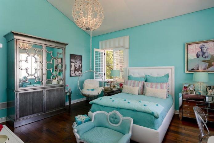 intérieur de chambre à coucher pour une fille de couleur turquoise