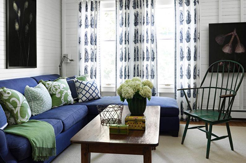 Vert avec bleu - La combinaison de couleurs à l'intérieur