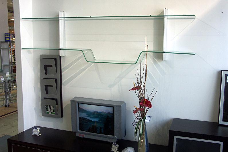 Étagères murales en verre ou miroirs