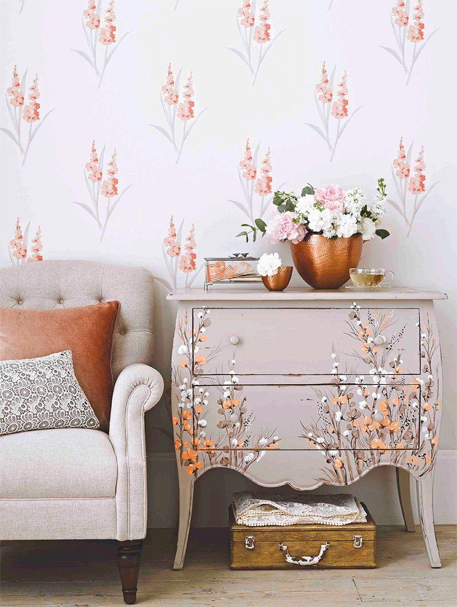 Papier peint avec de délicats bouquets de fleurs