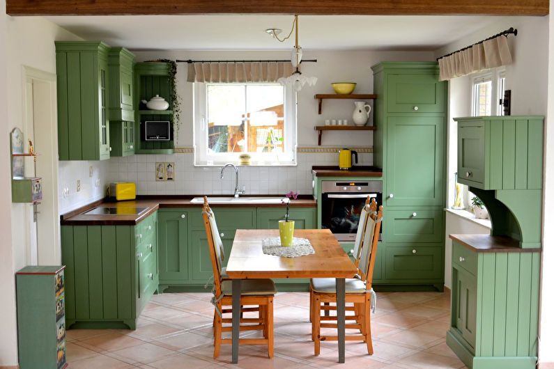 Couleur pistache à l'intérieur de la cuisine - Conception de photos