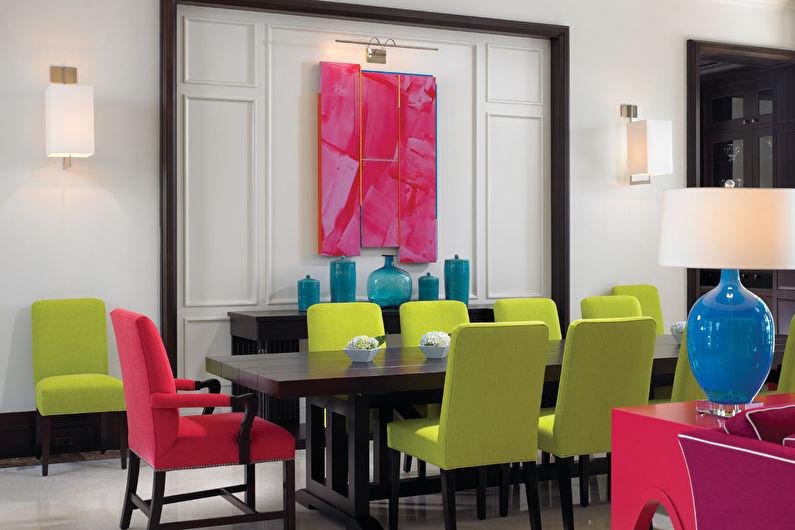 Pistache avec rose - La combinaison de couleurs à l'intérieur