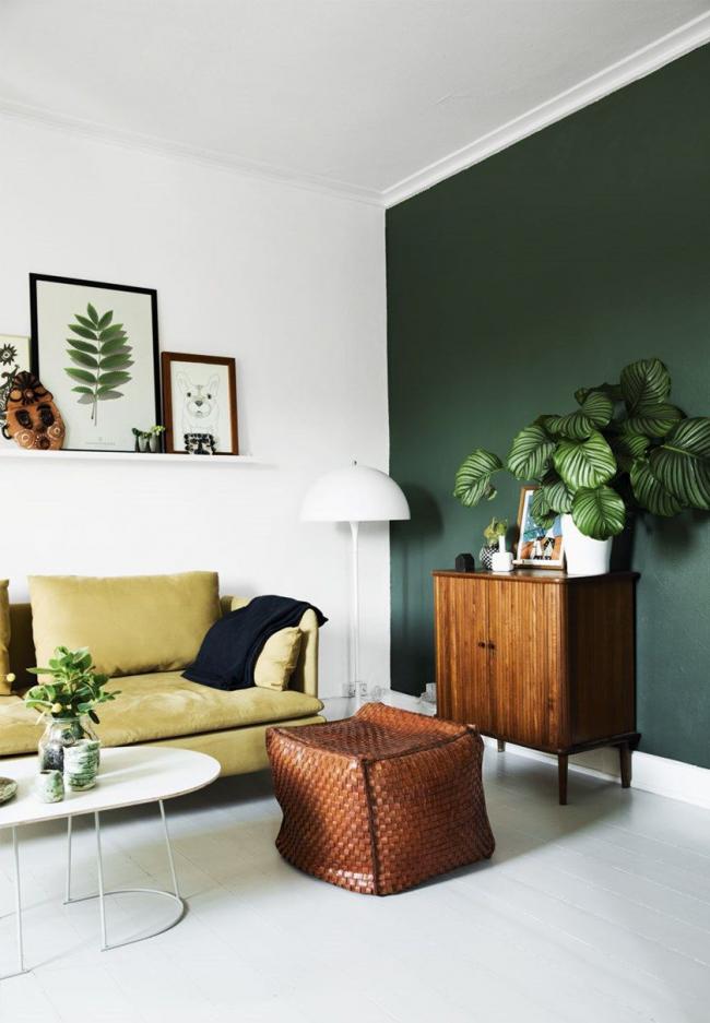 La combinaison du vert et du blanc dans un intérieur moderne