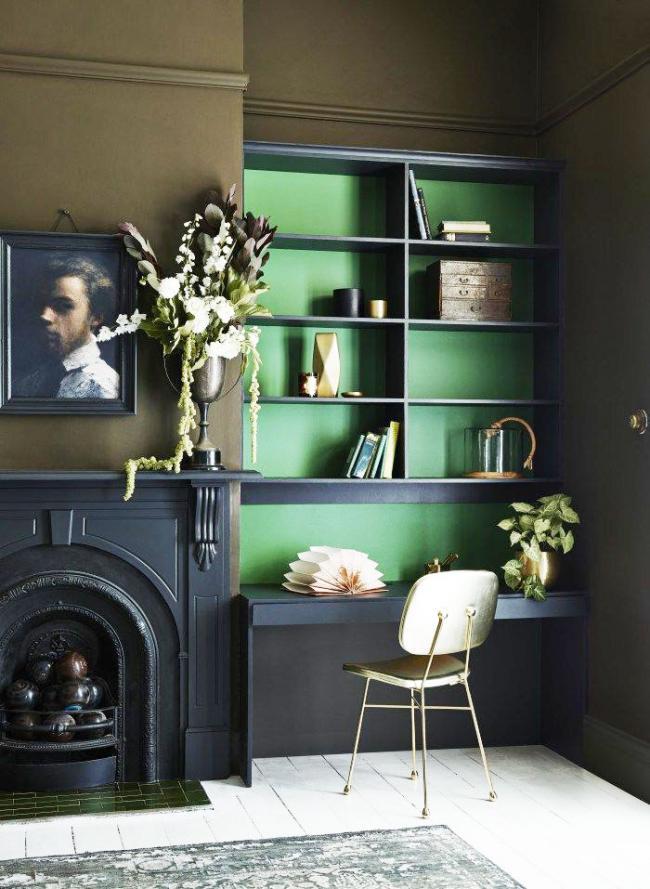 La couleur verte dans la conception de la zone de travail vous aidera à vous mettre dans la bonne humeur
