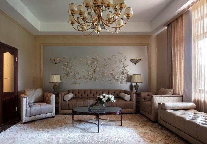 décoration murale à l'intérieur dans le style néoclassique