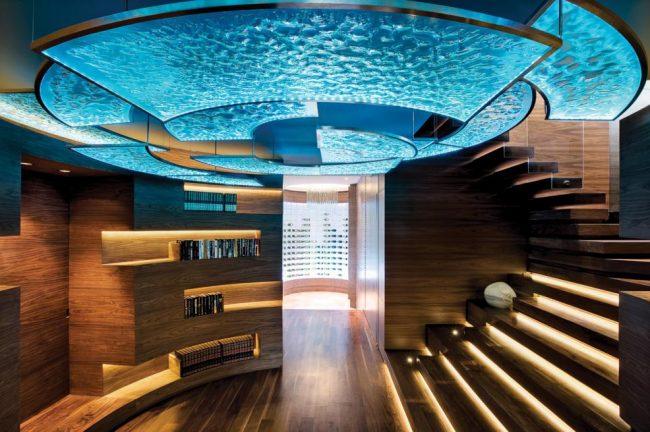 Plafond flottant luxueux avec effet aqua